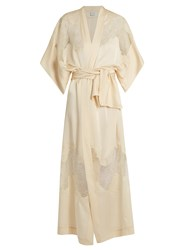 Carine Gilson Lace Insert Long Silk Satin Kimono Natural