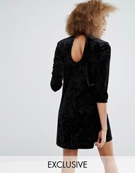 Monki Keyhole Neck Velvet Skater Dress Black