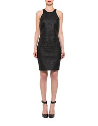 Alexia Admor Embroidered Faux Leather Sheath Dress Black