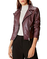 Karen Millen Leather Moto Jacket Red