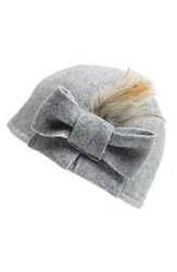 Women's Helene Berman Bow And Feather Wool Blend Cap Grey Pale Grey