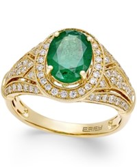 Effy Brasilica By Emerald 1 1 2 Ct. T.W. And Diamond 1 2 Ct. T.W. Ring In 14K Gold Green