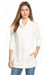 Women's Caslon Brushed Drawstring Funnel Neck Tunic Ivory Cloud
