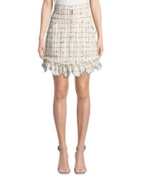 Rebecca Taylor Plaid Tweed Zip Front Skirt White Black