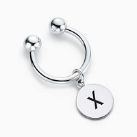Tiffany And Co. Alphabet Charm Key Ring In Sterling Silver. Letters A Z Available.