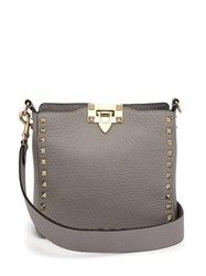 Valentino Rockstud Grained Leather Cross Body Bag Light Grey