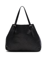 Bottega Veneta Large Woven Tote In Black