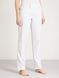 The White Company Gingham Cotton Flannel Pyjama Bottoms Pale Grey