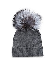 Saks Fifth Avenue Dyed Fox And Cashmere Cap Black