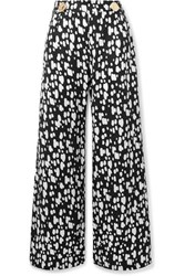 Mother Of Pearl Embellished Printed Lyocell Wide Leg Pants Black