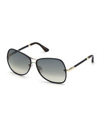 Tod's Braided Metal Butterfly Sunglasses Turquoise Smoke