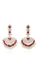 Sanjay Kasliwal Pearl And Ruby Chandelier Earrings Red