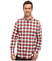 Nautica Long Sleeve Medium Plaid Shirt Ablaze Men's Long Sleeve Button Up Orange