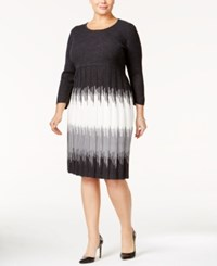 Sandra Darren Plus Size Ombre Sweater Dress Dark Heather Grey Multi
