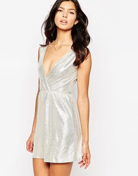 Oh My Love Plunge Neck Metallic Skater Dress Silver
