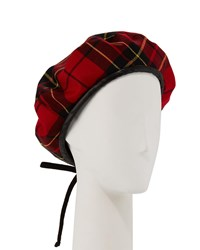 Eric Javits Kate Wool Houndstooth Beret Red Black