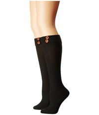 Steve Madden 2 Pack Button Cable Knee High Black Black Women's Knee High Socks Shoes