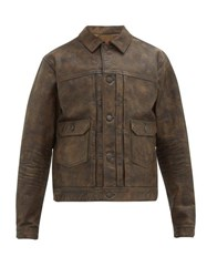 Rrl Dawson Patinated Distressed Leather Jacket Brown