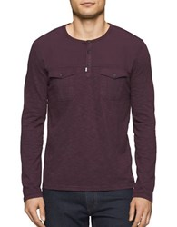 Calvin Klein Jeans Garment Dye Mixed Media Cotton Henley Tee Bordeaux