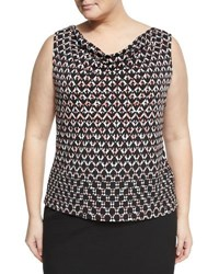 Tahari Asl Plus Chevron Print Jersey Cowl Blouse Black White