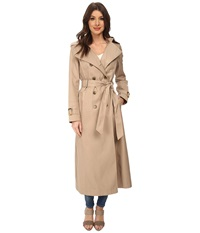 Dkny Long Maxi Belted Trench With Hood Sand Women's Coat Beige