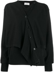 Christophe Lemaire Layered Button Up Cardigan Black