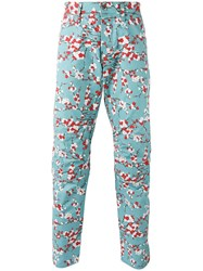G Star Floral Print Pants Blue