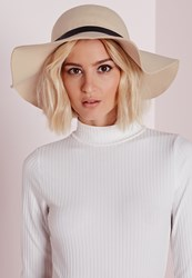 Missguided Floppy Hat Buckle Trim Cream Cream