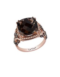 Le Vian Chocolate Quartz Vanilla Diamond Chocolate Diamond And 14K Rose Gold Ring 0.54 Tcw Brown