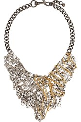 Lulu Frost Collage Silver Tone Gold Plated And Crystal Necklace Metallic
