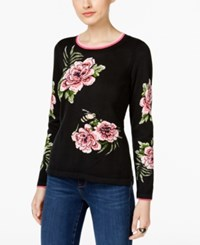 Inc International Concepts Floral Print Intarsia Sweater Only At Macy's Deep Black