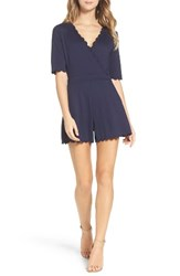 French Connection Women's 'Beau' Scalloped Romper Utility Blue