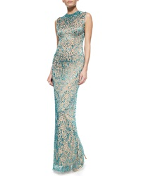 Jenny Packham Allover Bejeweled Column Gown
