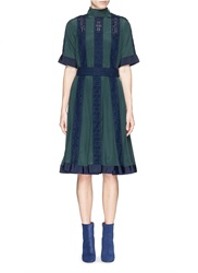 Sacai Eyelet Lace Insert Stand Collar Flare Dress Multi Colour