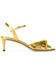 Gucci Knot Front Sandals Metallic