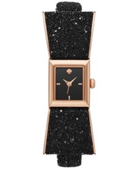 Kate Spade New York Women's Kenmare Crystal Black Leather Fabric And Rose Gold Tone Stainless Steel Bow Tie Strap Watch 20Mm Ksw1185