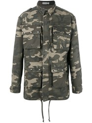 Faith Connexion Camouflage Military Jacket Green