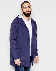 Paul Smith Jeans Long Parka Jacket With Hood Navy