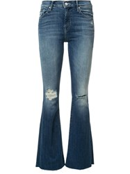 Mother Ripped Detailing Flared Jeans Blue