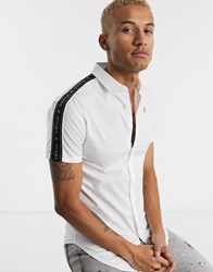 Sik Silk Siksilk Short Sleeve Shirt In White With Logo Taping
