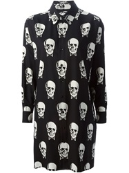 Saint Laurent Skull Print Shirt Dress Black