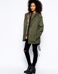 Barney's Originals Heavyweight Parka With Faux Fur Lining Khaki
