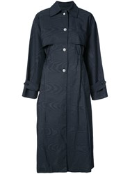Adam By Adam Lippes Button Embellished Trench Coat Blue