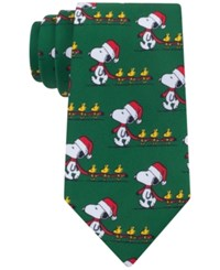 Peanuts Men's Christmas Snoopy With Santa Hat Tie Green