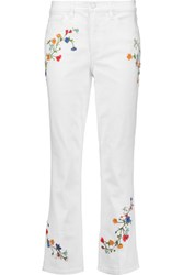 Tory Burch Carson Cropped Floral Embroidered Mid Rise Flared Jeans White