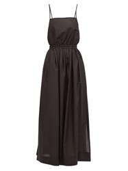 Matteau Elasticated Waist Cotton Poplin Maxi Dress Black