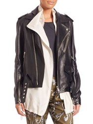 3.1 Phillip Lim Lined Leather Biker Jacket Black
