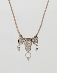 Missguided Crystal Drop Collar Necklace Crystal Gold