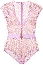 Agent Provocateur Pettra Belted Embroidered Tulle Bodysuit Lavender