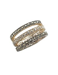 Lord And Taylor Sterling Silver Marcasite Crystal Stackable Ring